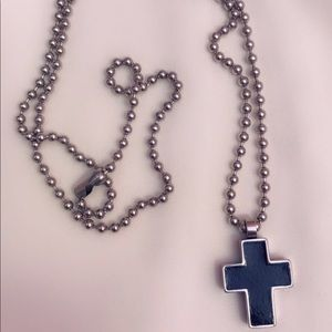 Men's stainless steel black cross necklace